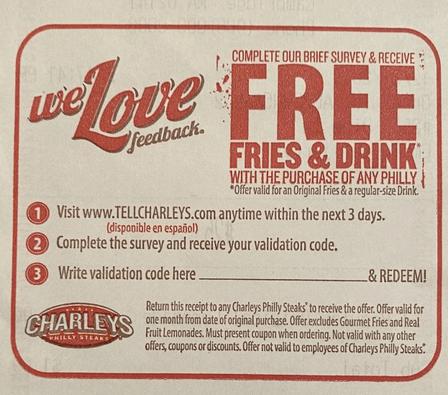 Charleys Survey Validation coupon