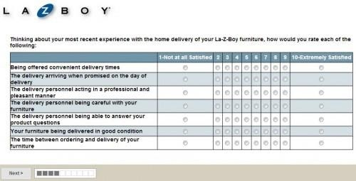 La-Z-Boy Survey Questions