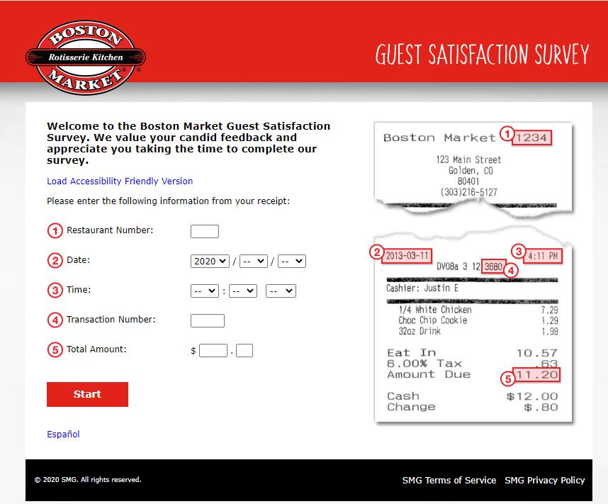 Take Boston Market Survey
