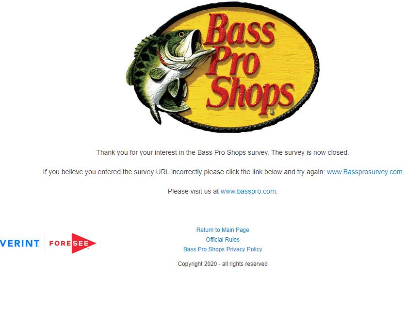 Official Bass Pro shops Guest Satisfaction Survey