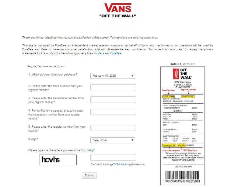Vans survey steps