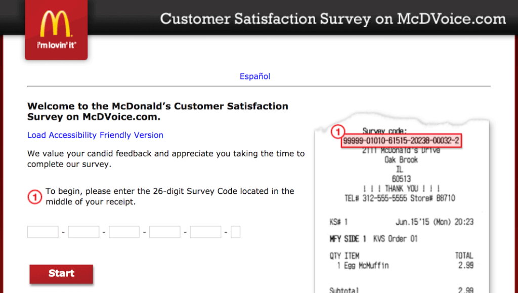 mcdvoice Survey Code