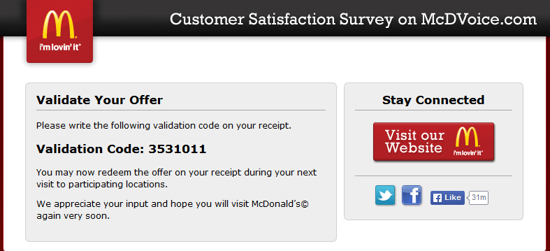 mcdvoice validation code