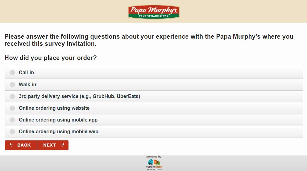 PapaSurvey questions
